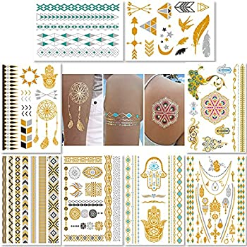 Metallic Temporary Tattoos for Women Teens Girls - 8 Sheets Gold Silver Temporary Tattoos Glitter Shimmer Designs Jewelry Tattoos - 100+ Color Flash Fake Waterproof Tattoo Stickers  Caicos