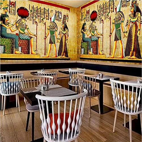 Fotobehang Behang Nostalgische Vintage Egyptische Farao Idool Achtergrond Klassiek Thema Restaurant Café Industrieel Decor Fotobehang-300x210cm(118.1by82.7in)