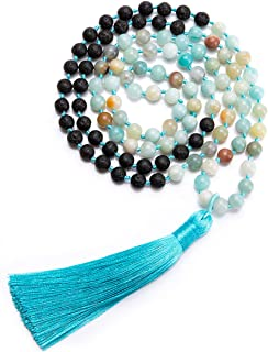 Bivei 108 Mala Peayer Beads Necklace Boho Statement Long Tassel Lava Essential Oil Diffuser Bracelet Meditation Yoga Jewerly