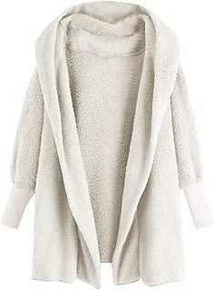 Womens Winter Open Front Loose Hooded Fleece Sherpa Jacket Cardigan Coat Casual Oversized Warm Plush Jacket