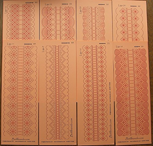 Surtido de 8 patrones de ligas para encaje de bolillos
