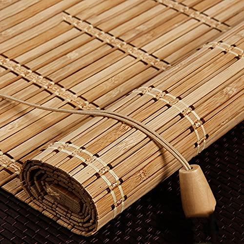 Persiana enrollable de bambú de estilo retro Estores de bambú Rollo bambú Ventanas natural Bamboo Blind para protector solar para ventanas y puertas Sombrilla,Personalizable,Sombra 50% (110 x 260 cm)