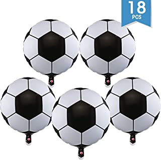 DLOnline 18 Pack 18-inch Aluminum film Soccer Balloons, Birthday Party Football Theme Party World Cup Decoration Supplies
