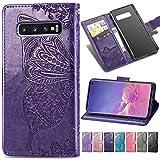 Roar Handy Hülle für Samsung Galaxy S10 Handyhülle Schutzhülle Tasche Ledertasche, Flip Hülle Leder Hülle mit Motiv für Samsung Galaxy S10, Klapphülle mit 3X Kartenfach - Violett