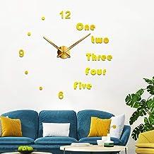 Generic 3D Mirror Surface Diy Wall Clock, Gold, Dot-017