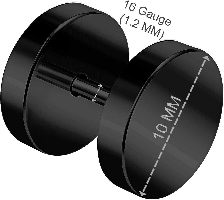 BanaVega 2PCS Stainless Steel Black 16g 1.2mm Screw Cheater Plug Earring Illusion Gauge Ear Lobe Piercing Jewelry See More Sizes