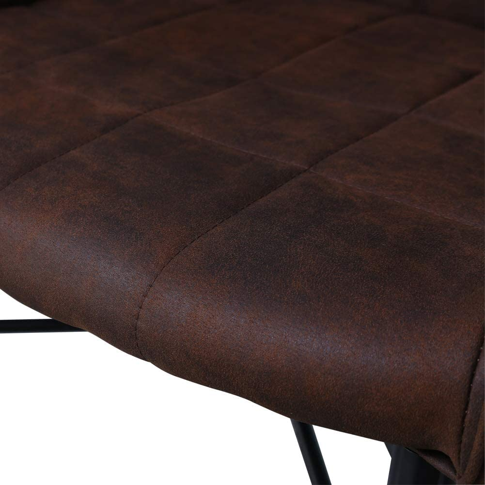 TUKAILAI 2x Upholstery Faux Leather Dining Chair Armchair Tub Chairs Padded Seat Lounge Office Reception Restaurant Furniture Brown