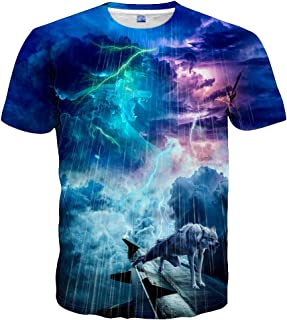3D Graphic Colorful T-Shirts Short Sleeve Crew Neck Print Tee for Men Women and Youngs