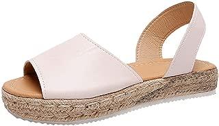 Loosebee??? Women's Fish Mouth Hemp Rope Weaving Platform Buckle Wedges Sandals Bohemian Shoes Summer Sandals