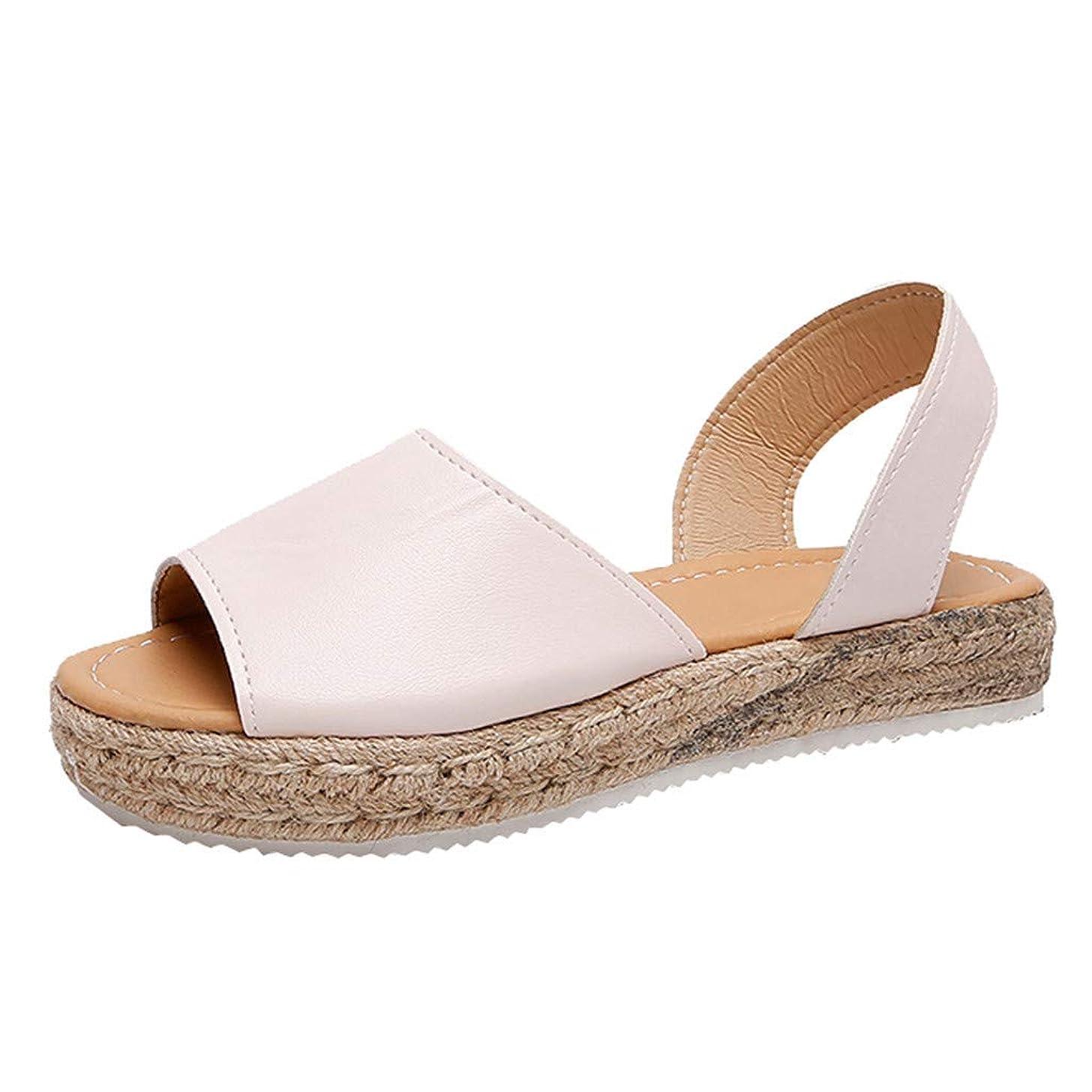 〓COOlCCI〓Women's Casual Ankle Strap Open Toe Sandals Espadrille Platform Wedge Sandals Slingback Wedge Sandals