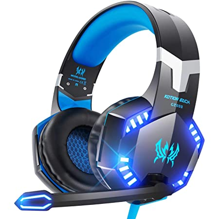VersionTECH. G2000 Gaming Headset for PS5, PS4, PC, Xbox One, Surround Sound Over Ear Headphones with Mic, LED Light for Mac Laptop Switch Playstation Xbox Series X/S