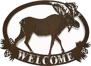 Cabin Lodge Decor Moose Welcome Sign, Metal Art, 20