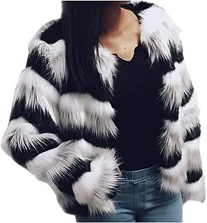 Dawwoti Women's Faux Fur Short Jacket Tucker Long Sleeve Luxury Chunky Peacoat for Christmas Party