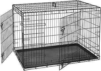 AmazonBasics Cage pliante en métal avec 2portes pour chien - 122 cm