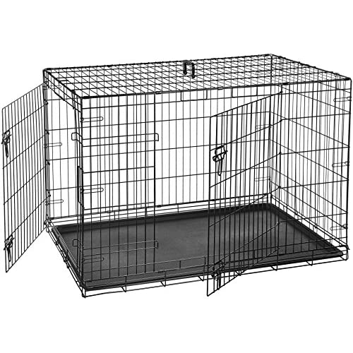 AmazonBasics - Gabbia per cani in metallo, pieghevole, con 2 sportelli, 122 cm
