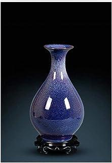 YUNLILI Artesanal Jarrón cerámica cerámica decoración China Sala de Estar casa Flor Azul glaseado Porcelana qf Tienda (Col...