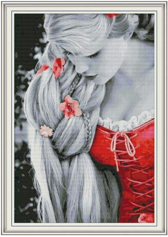 Kit de punto de cruz de princesa de pelo largo aida 14ct 11ct lienzo de impresión de recuento kits de costura de cruz bordado de costura DIY hecho a mano-hilo de algodón_14ct lienzo sin imprimir