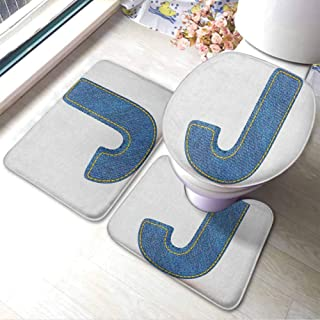 U Shaped Nonslip Home Washroom Decor Shower Accessories Letter J,Blue Jean Patterned Denim Alphabet Font Design Capitalized J Letter Cloth Style, Blue Marigold,Large Floor Mats For living room Colorfu
