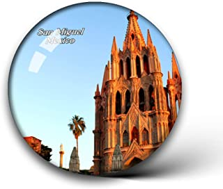 Jollin Mexico Cathedral San Miguel Fridge Magnets Clear Crystal Glass for Refrigerator City Travel Souvenirs Funny Whiteboard Home Decorative Sticker Collection Gifts Round Magnet