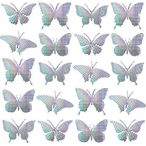 Boao 20 Stück Anti-Kollision Warnen Aufkleber Schmetterlinge Vogel Abschreckend Fenster Haftet Abschreckung Vögel, Stoppt Vögel, die in Fenster fliegen, 5 Formen