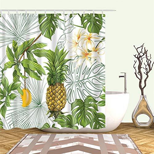 XCBN Cortinas de Ducha Plantas Tropicales Flores Impresas Cortina de Ducha de baño Cortina de baño Impermeable Pantalla de baño Decoración A13 90x180cm