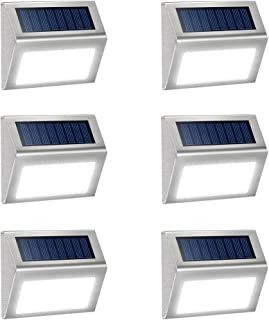6 Pack Solar Deck Lights Bright 3 LED Stair Lights Auto On/Off Waterproof Stainless Steel Step Lights Outdoor Solar Lamp for Patio Walkway Garden Fences Pathway Wall Paths (White Light)
