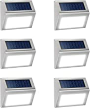 JSOT 6 Pack Solar Deck Lights Bright 3 LED Stair Lights Auto On/Off Waterproof Stainless Steel Step Lights Outdoor Solar Lamp for Patio Walkway Garden Fences Pathway Wall Paths (White Light)
