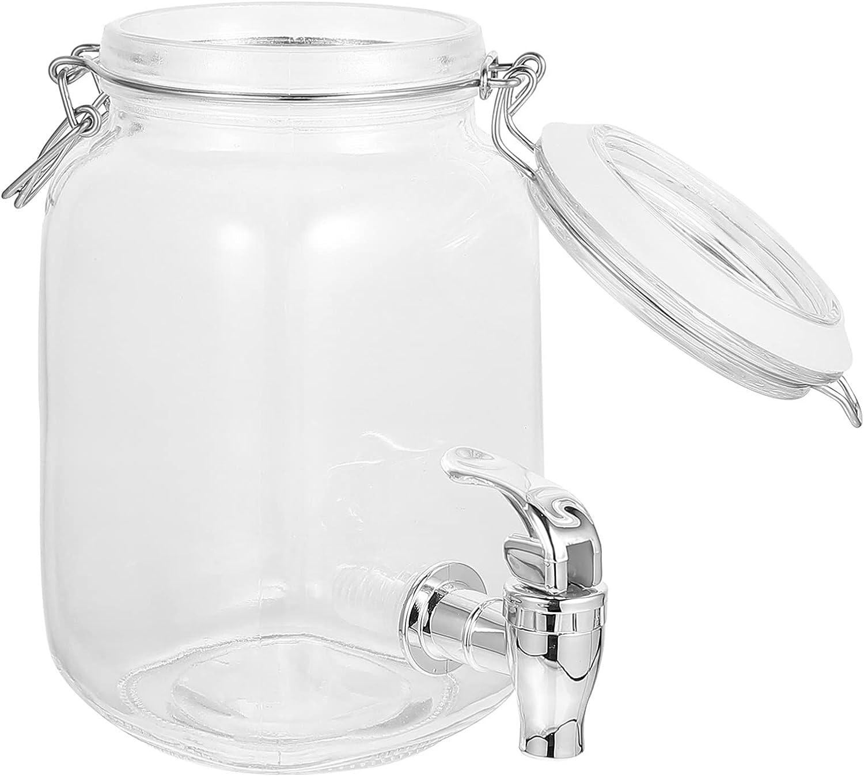 Angoily Dispensador de Bebidas de Vidrio con Grifo 1l Botella con Grifo y Tapa Dispensador de Bebidas con Grifo para Limón Cerveza Jugo Agua para Nevera (1 litros)