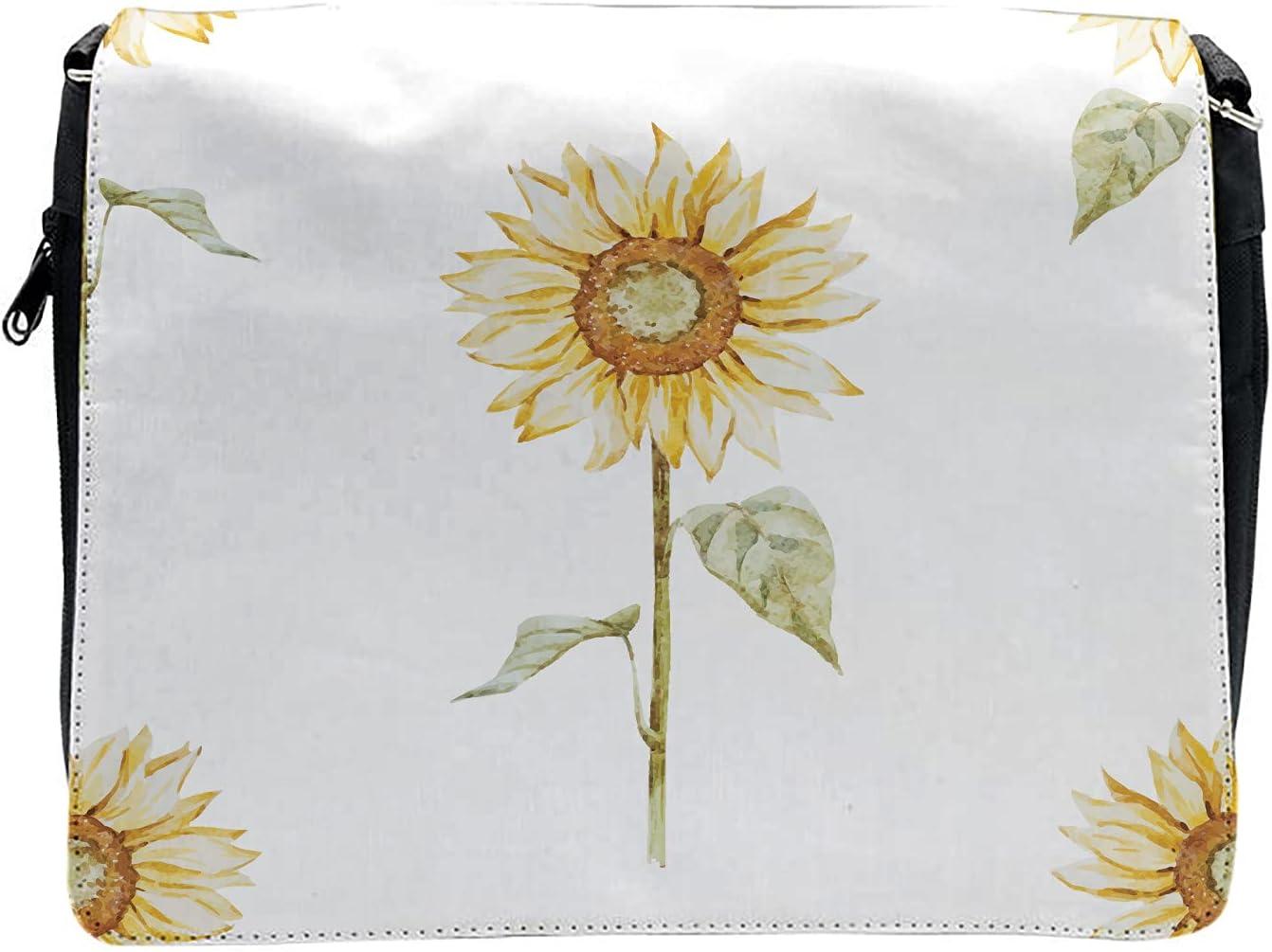 Ambesonne Sunflower Cross Body Messenger Bag, Minimalistic Art, Unisex