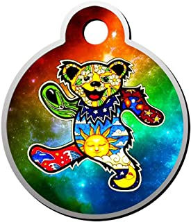 BSARRE Psychedelic Dancing Bear Dog Cat Tags Personalized Double Sided Stainless Steel Round Pet ID Tag