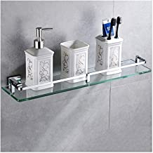QIQI-JZX Bathroom Shelf, 8mm Tempered Glass Shelf Rectangular Wall Mounted Shower Organizer with Rail (Size : 41cm)