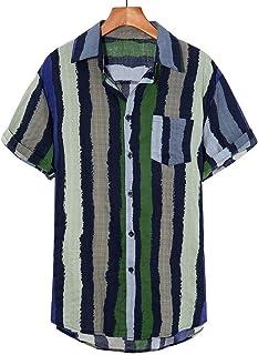 FossenHom Camisas de Hombre de Moda 2020 con Bolsillo de Pecho a Rayas Multicolores Sueltas Camisas Hombre Baratas Fiesta ...