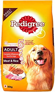 Pedigree Adult Dry Dog Food, Meat and Rice, 10kg Pack