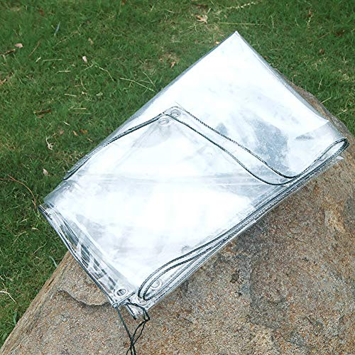 N / A Tarps Waterproof Transparent Tarpaulin, Outdoor Heavy Duty Tarp Cover with Eyelets, Thick PVC Clear Shelter Cover for Roof Terrace Porch(Color:0.3mm,Size:1.6×2m)