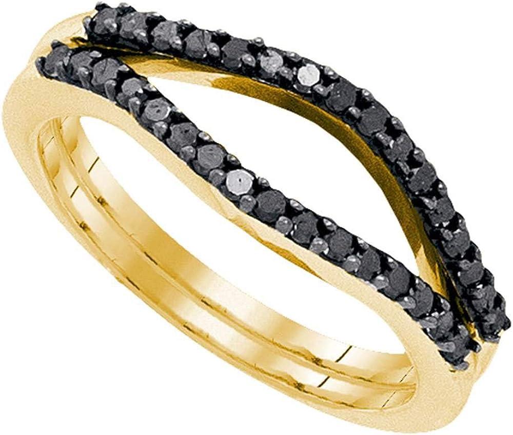 10kt Yellow Gold Womens Round Black Color Enhanced Diamond Wrap Ring Guard Enhancer 1/3 Cttw