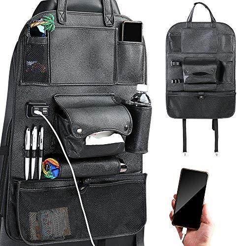 Bakaji Organizador de protección para el respaldo del asiento del coche con 4 puertos USB, bolsillos porta objetos, portabotellas y toallero, organizador de piel sintética negro, fijación con bandas