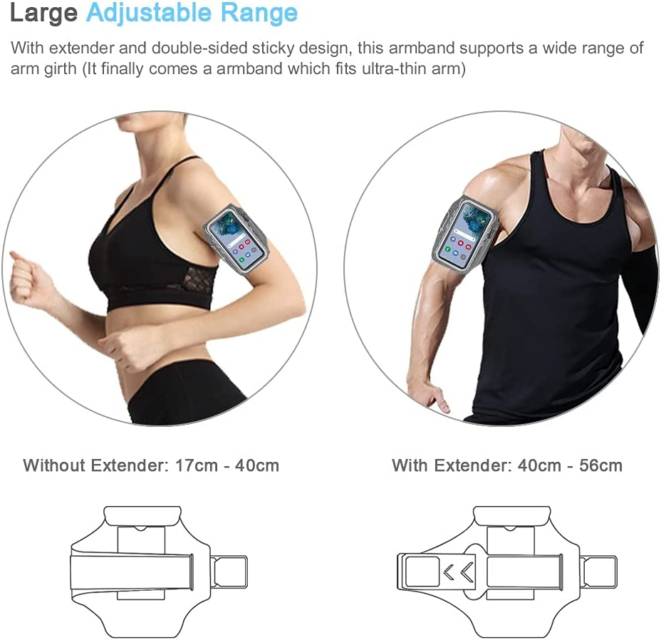 JEMACHE Running Armband for Samsung Galaxy S21 Ultra, S20 Plus, S21 Plus 5G, S20 FE, Note 20 Ultra 10+ 9 8, Gym Workouts Arm Band with Earbuds Pocket, Card Holder (Grey)