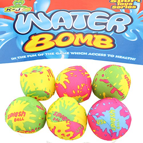 JONOTOYS Wasserbomben Wasserball Set 6tlg Spielball Ball circa5cm Splash Strandball Beachball