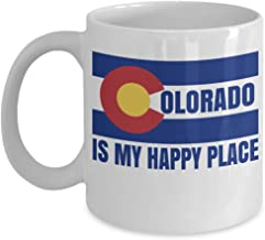 Colorado Is My Happy Place Logo Art Coffee & Tea Gift Mug Cup For Youth Coloradans From Denver, Boulder, Aspen & Loveland (11oz)