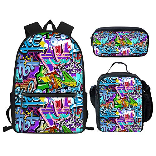 Showudesigns Kids School Bag Set Teenager Girls Backpack and Lunch Bag Pencil Case Boys Graffiti Bookbag Middle School with Lunch Box Set of 3