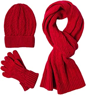 ZHANGLI Scarf Glove Hat Set - Women Men Winter Warm Casual Scarf Glove Hat Set Snowboarding Soft Skiing Gift