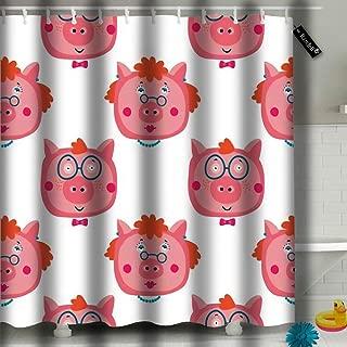 txregxy Shower Curtain Bath Curtain Pig in Village Farm Animal Decorative Modern Bathroom Accessories 72 by 1611 Inches 72
