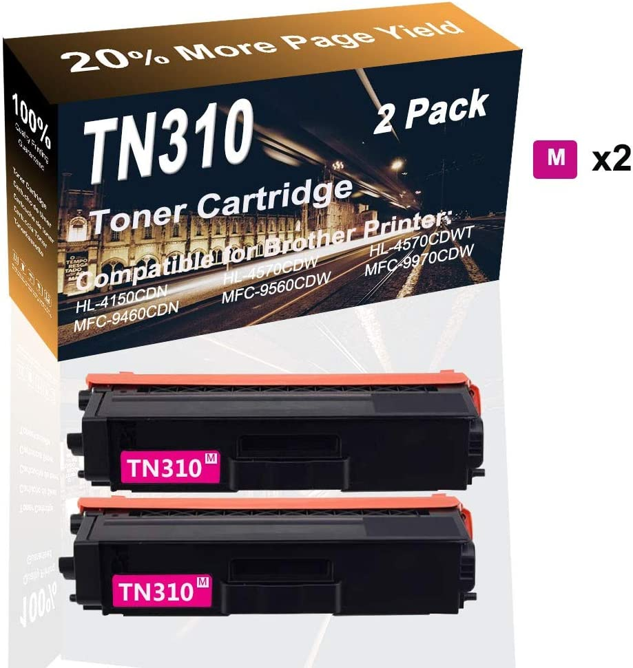 2-Pack (Magenta) Compatible High Yield Color Printer Toner Replacement for Borther TN310 TN-310 Laser Printer Toner Cartridge use for Borther HL-4150CDN HL-4570CDW Printer