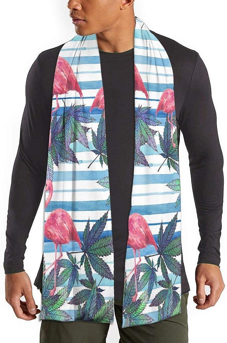 Womens Soft Cashmere Feel Pashmina Shawls Wraps Winter Scarf(Pink Flamingo Palm Leaf)