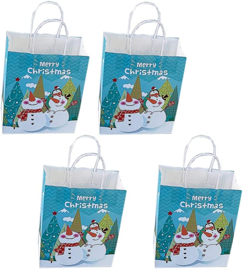 ABOOFAN 10pcs Christmas Kraft Gift Rare Bag Tote with Christm Direct sale of manufacturer Handles