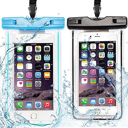 CaseLover 2X Custodia Impermeabile, Borsa Sacchetto Impermeabile Cellulare Dry Bag Universale Fino a 6 Pollici Smartphone per Samsung, Huawei, iPhone, ASUS, LG, HTC, Sony Xperia, Case - Blu + Nero