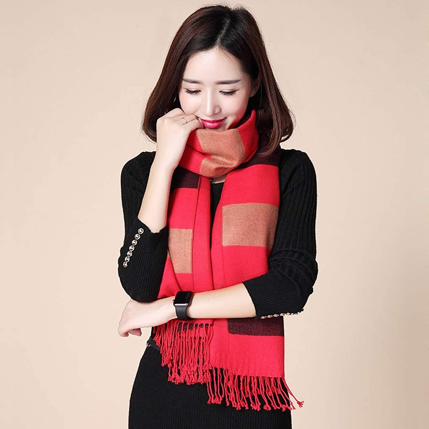 FEIScarves Women's Scarf Autumn and Winter New Korean Version of The Wild Striped Shawl to Keep Warm and Thick Long Section (color   B)