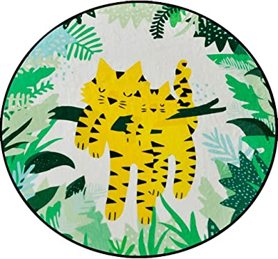 Round Area Rug Non-Slip Animal Cartoon Pattern Round Carpet European Style Bedroom Basket Round Carpet Home Computer Chair Super Soft Mat Home Decor (Color : B, Size : 120 * 120CM)