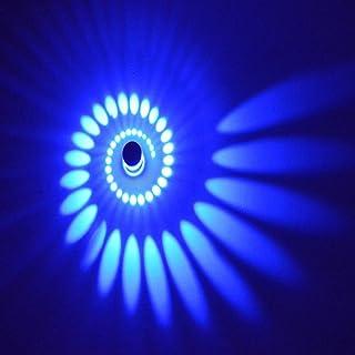 Plafonnier à effet spirale 3W LED Down Lampe murale d'escalier Intensité variable Intérieur couloir Lounge (Blanc chaud) bleu