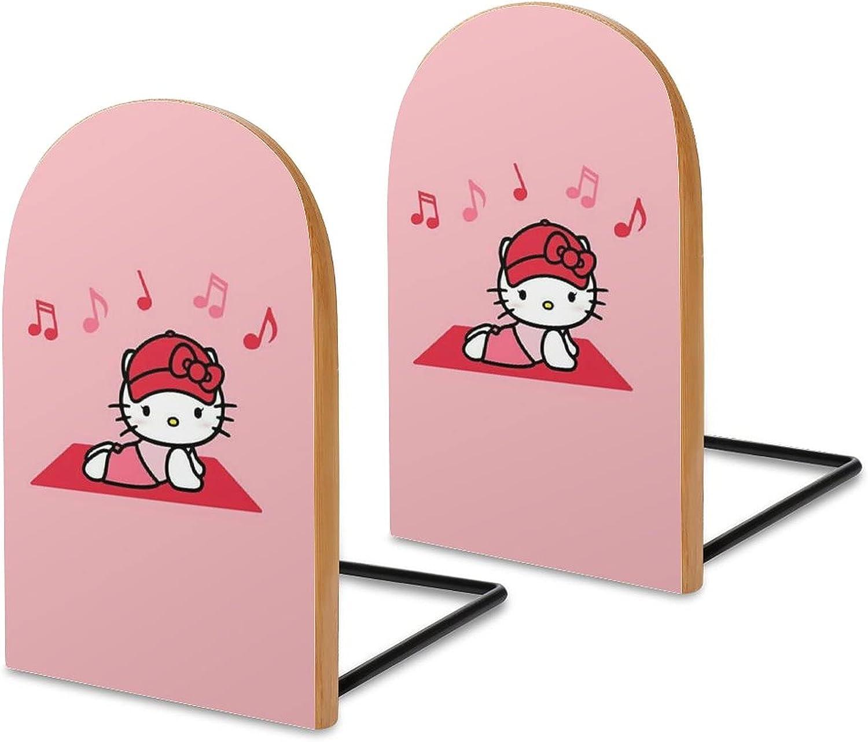 KRISMARIO Hello Kitty Music 2pcs Heavy Wood Logs Bookends Modern
